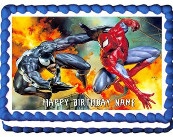 SPIDERMAN AND VENOM edible cake topper party Image