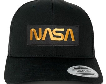 FLEXFIT NASA Worm Gold Text Embroidered Iron on Patch Snapback Mesh Trucker Cap - Black (6606-PM302-BLACK)