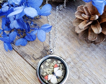 Locket flower necklace, gift for woman, terrarium necklace, butterfly necklace, inspirational, animal necklace, real flower jewelry