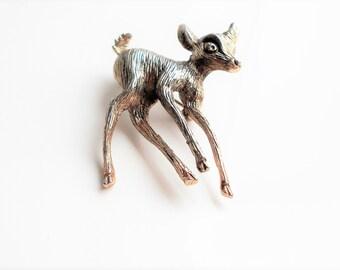Vintage Deer Brooch 1950s NATALY