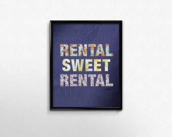Rental Sweet Rental Typography Print, Blue Wall Decor Art Print, Patchwork Faux Fabric Print
