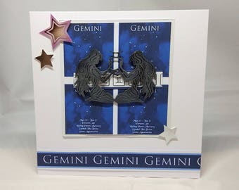 Gemini Horoscope Birthday Card - Zodiac/Star Sign -luxury personalised unique quality special astrological UK