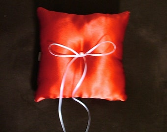 Wedding bridal ring bearer pillow custom made red satin elegant