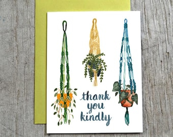 Macrame Thank You Card, Watercolor Greeting Card by Little Truths Studio
