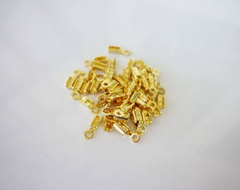50 end caps lace in brass gilded with gold fine 8 x 2, 4mm