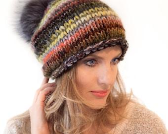 Chunky Knit Hat | Women Knit Hat | Women's Slouchy Beanie | Wool Hat  Winter hat with Pom pom | Gift for girlfriend | Slouchy hat | knitting