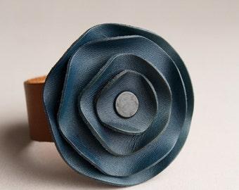 leather cuff, leather scarf cuff, Navy Blue leather, navy leather, dark blue leather