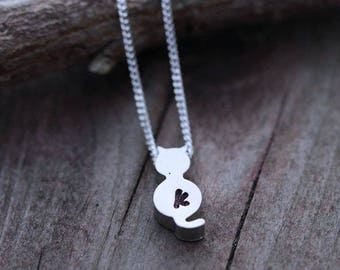 Silver CAT necklace. sterling silver beautiful chain, Silver CAT without initial. cat Necklace. silver Cat Jewelry