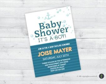 Nautical Bubbles Baby Shower Invitation (boy)
