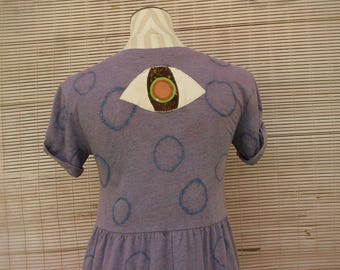 THIRD EYE t-shirt dress / womens pullover mini dress with short reverse tie dye size medium M