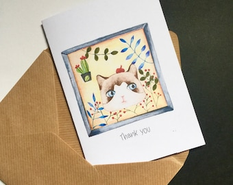 Thank you card, watercolor,cat lover, anniversary card, ragdoll cat, gift card, stationery,congratulation card