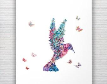 A3 Hummingbird Watercolor Print Butterfly Art Home Decor Bird Print Hummingbird Painting Butterflies & Hummingbird Art Unique Bird Painting