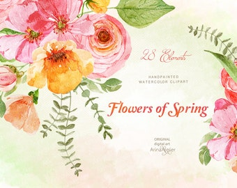 Flowers of Spring Watercolor Clipart - Flowers, Floral Clip Art, Wedding, Wedding Invitation, DIY Invitations, Clip Art, Prints, Flowers