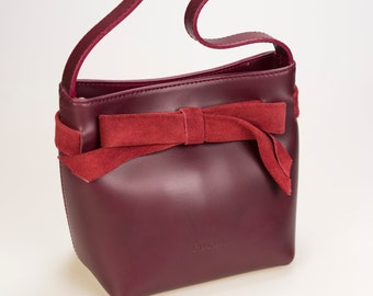 FURLA-Made in Italy-Bordeaux wrist purse with bow-women's Accessories