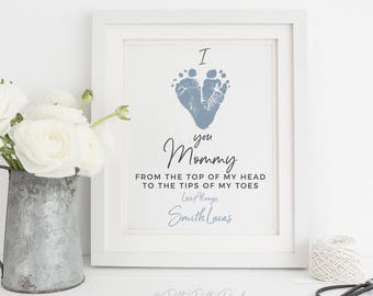 Gift for Mom from Son, First Mother's Day Gift, Personalized New Mommy Baby Footprint Art Print, Your Child's Feet, 8x10 inches UNFRAMED
