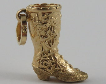 Cowboy Boot 10K Gold Vintage Charm For Bracelet
