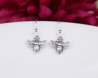 Sterling Silver Bee Earrings, Honeybee Earrings, Bumblebee Earrings, Bee Jewelry, Bee keeper Gift, Queen Bee Earrings