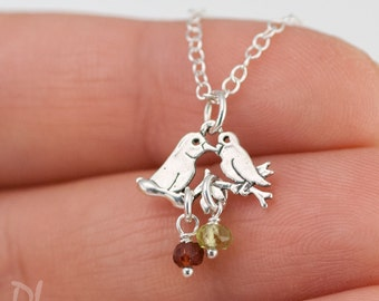Tiny Silver Customized Mama Bird Necklaces - Mothers Birthstone Necklace - Gift her Wife - OOAK Gift - Customized Jewelry - Mothers day gift