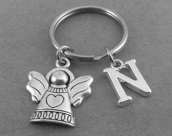 Personalised Angel Keyring Keychain Initial Charm