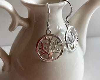 Sterling Silver Earrings-Tree of Life Earrings