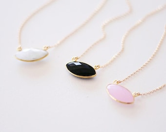 Adrienne Necklace - Bezel Gems in Gold: Pale Rose Chalcedony, Black Onyx & White Moonstone
