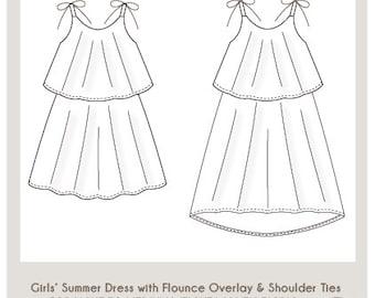 Little Ellie Round Collar Yoke Neck Dress Instant Download PDF