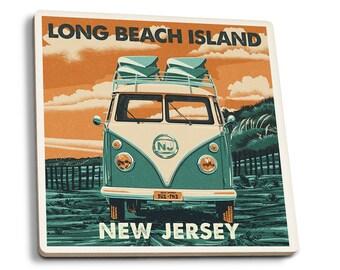 Long Beach Island, NJ - VW Van - LP Artwork (Set of 4 Ceramic Coasters)