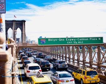 Color Photo Print: NYC Brooklyn Bridge Traffic