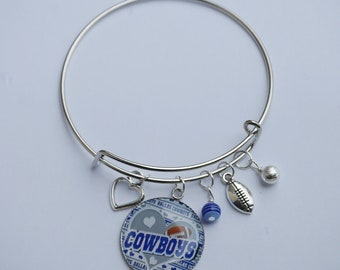 BLUE and SILVER football bangle silver charm bracelet COWBOYS style