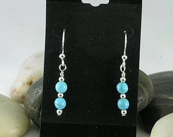 Turquoise & Silver Drop Earrings - Native American - Aztec - Southwest
