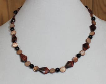 German Crystal Tiger Eye with Abalone and Jet Black Necklace