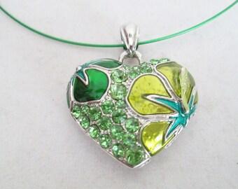 Crystal Flower Heart Pendant on Green Metal Wire Choker Necklace, Crystal Flower Pendant, Choker Necklace, Heart Necklace, Heartfelt Gift