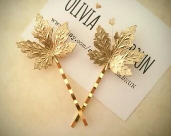 Maple Leaf Hair Pins Gold Maple Leaf Bobby Pin Leaf Hair Clip Woodland Wedding