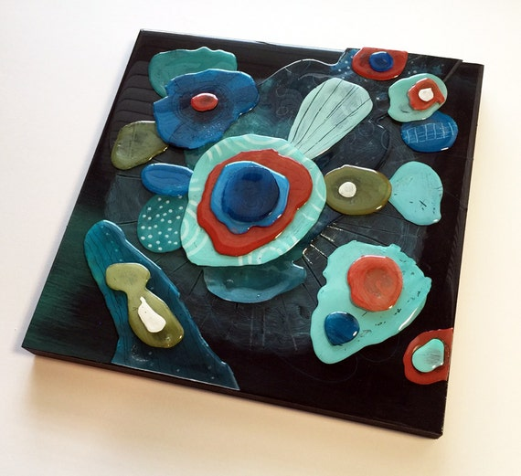 Callipri - Original Acrylic and Resin Collage on Wood Panel - 12 x 12