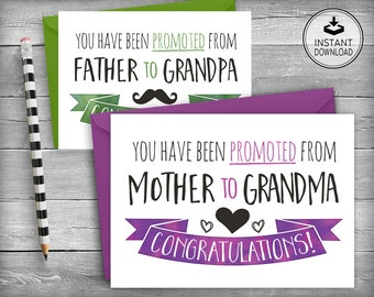 New Baby | Pregnancy Announcement | New Baby Announcement | Grandma Grandpa Congratulation | Printable Cards | DIY Greeting Card