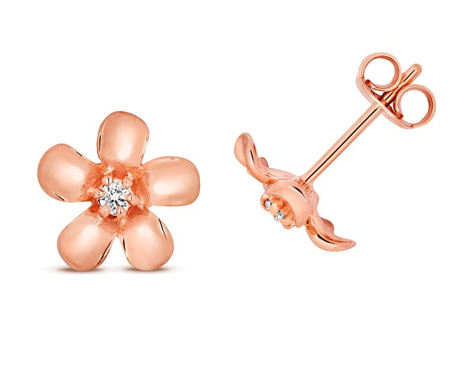 9ct Rose Gold 0.05ct HSi Diamond Daisy 8mm Stud Earrings