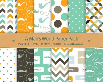 Man digital paper fathers day download Moustache digital scrapbook paper Mustache paper Gentleman Father Hipster Dad Grandpa Boy digital