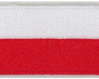 Small Poland Flag Iron On Patch 2.5 x 1.5 inch Free Shipping