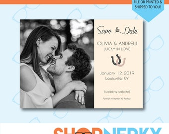 Personalized Wedding Save the Date with Your Photo and Colors | Lucky in Love | PRINTABLE