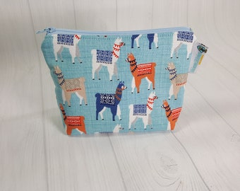 Llama on Blue Zipper Notions Pouch, Mini Zippered Wedge Bag, Craft Pouch NP0055