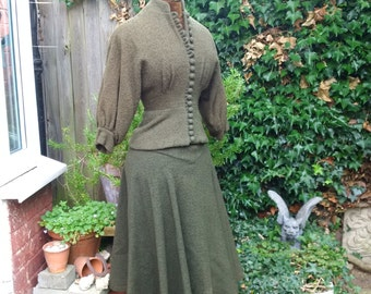 1970's green wool Miss Mouse designer Rea Spencer-Cullen 1930's style suit