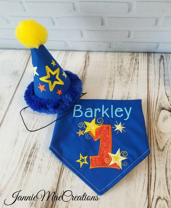 Boy Better Know Hat: Stars And Swirls Personalized Birthday Dog Bandana And Party