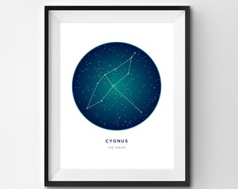 Cygnus Printable | Cygnus Art Print | Constellation Printable | Constellation Art | Constellation | Printable Art | Stars | Star Art