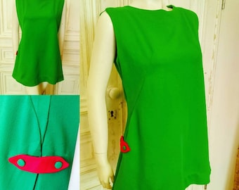 Original 1960's Green And Red Space Age Mini Dress - Good Condition - Only 45 Pounds!