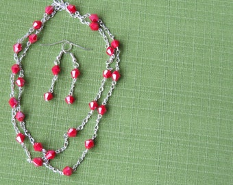 Red crystal and silver necklace with matching earrings st