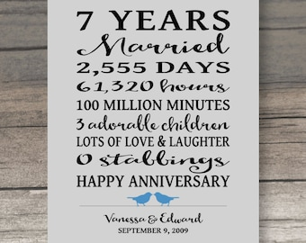 7 Year ANNIVERSARY GIFT, Funny Anniversary Gift for Spouse Art Print Personalized Gift for Husband Anniversary Gift for Wife Funny Gift