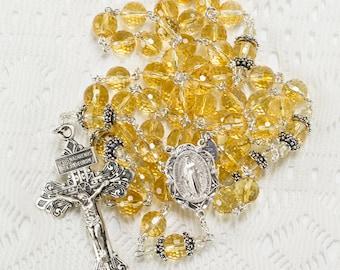 Citrine Quartz Catholic Rosary - Handmade Gift, Sterling Silver, Miraculous Medal, Pardon Crucifix - Heirloom, Custom, Unique Rosaries