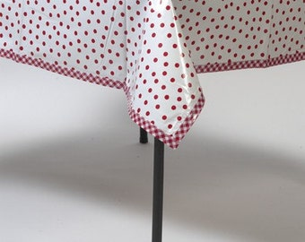 Square Oilcloth Tablecloth or Splat Mat Dot Red with red gingham trim