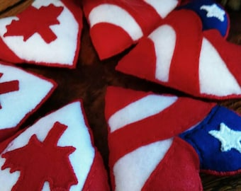 Heart Cat Toys, Catnip, Cat Toys American Flag, Canadian Flag, One Leafed