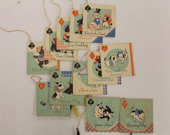 Vintage Bridge Booklet Tally Cards, Adorable Puppy Tally Cards, Bridge Score Cards, Used Tally Card Set of Twelve, Tally With Tassel.